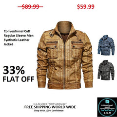Conventional Cuff Regular Sleeve Men Synthetic Leather Jacket