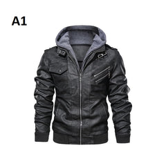 Full Sleeve Zipper Closure Solid Pattern Men Faux Leather Jacket