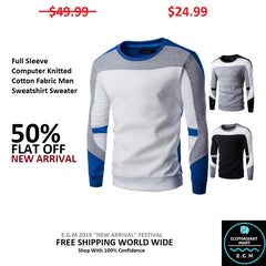 Full Sleeve Computer Knitted Cotton Fabric Men Sweatshirt Sweater