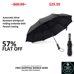 Automatic Wind Resistant Windproof Folding Umbrella With Parasol Coating