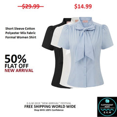 Short Sleeve Cotton Polyester Mix Fabric Formal Women Shirt