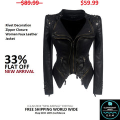 Rivet Decoration Zipper Closure Women Faux Leather Jacket