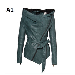 Hooded Collar Sashes Decoration Women Faux Leather Jacket