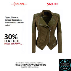 Zipper Closure Spliced Decoration Women Faux Leather Jacket