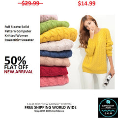 Full Sleeve Solid Pattern Computer Knitted Women Sweatshirt Sweater