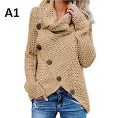 Computer Knitted Full Sleeve Button Decoration Women Sweatshirt Sweater