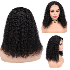 10-18 Inches Brazilian Curly Human Hair Lace Front 4*4 Closure Wig With 150% Density