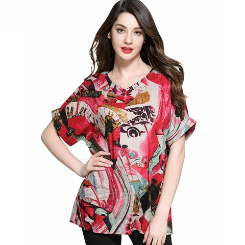 Print Pattern Sashes Decoration V-Neck Blouse Top For Women