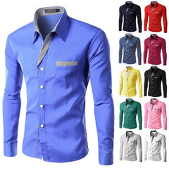 Single Breasted Turn Down Dollar Broadcloth Fabric Men Shirt.