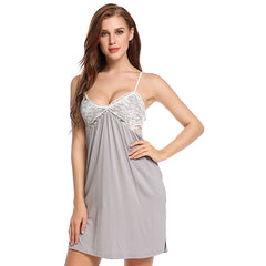 Lace Decoration Patch Work Pattern Nightgown Sleep & Lounge For Women - Grey