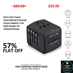 All-In-One Travel International Universal Power Adapter 3.4A Wall Charger for UK/EU/AU/Asia