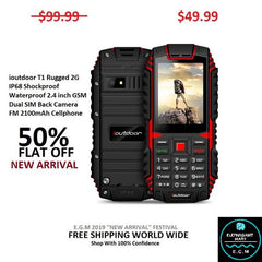 ioutdoor T1 Rugged 2G IP68 Shockproof Waterproof 2.4 inch GSM Dual SIM Back Camera FM 2100mAh Cellphone
