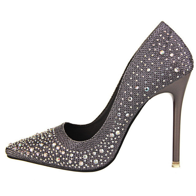 Grey Luxury Rhinestone Slip On Closure High Heels Shoe For Women