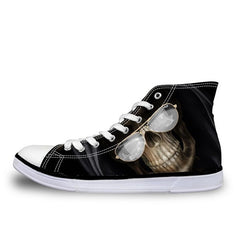 Animal Print Cotton Lining EVA Insole Lace-Up Closure Canvas Shoe For Men - A6