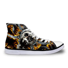 Animal Print Cotton Lining EVA Insole Lace-Up Closure Canvas Shoe For Men - A8