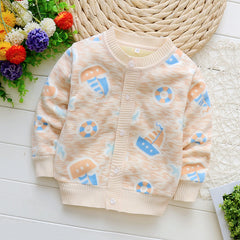 Full Sleeve Cartoon Pattern Bamboo Fiber Baby Boy Outwear - A4