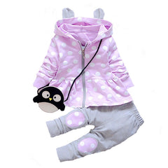 Polka Dot Zipper Closure Hooded Collar Baby Clothing Set - Purple