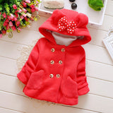Full Sleeve Lolita Solid Pattern Hooded Collar Baby Girl Outwear - Red