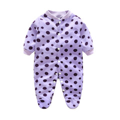 Unisex Covered Botton Closure Animal Pattern Baby Romper - A2