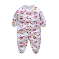 Unisex Covered Botton Closure Animal Pattern Baby Romper - A6