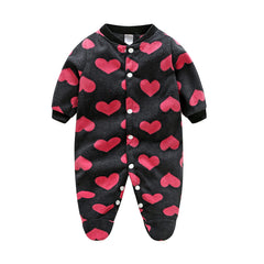 Unisex Covered Botton Closure Animal Pattern Baby Romper - A7
