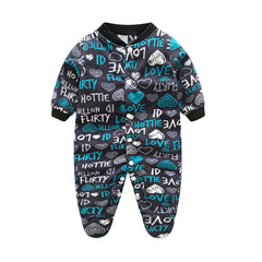 Unisex Covered Botton Closure Animal Pattern Baby Romper - A8