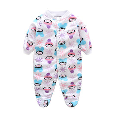 Unisex Covered Botton Closure Animal Pattern Baby Romper - A9