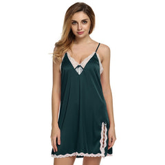 Lace Decoration V-Neck Collar Nightgown Sleep & Lounge For Women