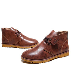 Brown Low Heel Solid Pattern Ankle Boot For Men - BigrockShoes.com