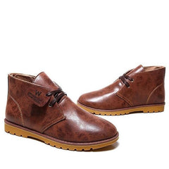 Brown Low Heel Solid Pattern Ankle Boot For Men