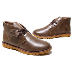 Saddle Brown Low Heel Solid Pattern Ankle Boot For Men
