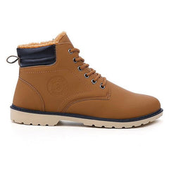 Brown Cross-Tied Rubber Outsole Ankle Boot For Men