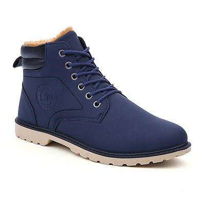 Blue Cross-Tied Rubber Outsole Ankle Boot For Men