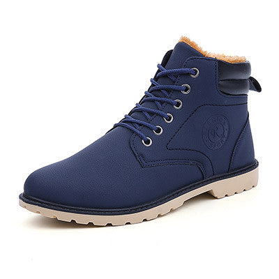 Blue Cross-Tied Rubber Outsole Ankle Boot For Men - Bigrockshoes.com