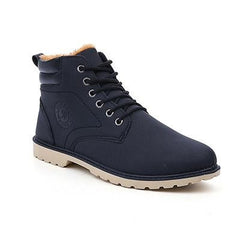 Black Cross-Tied Rubber Outsole Ankle Boot For Men