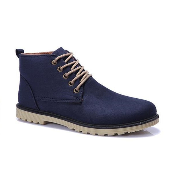 Lace-Up Closure Solid Pattern Ankle Boot For Men