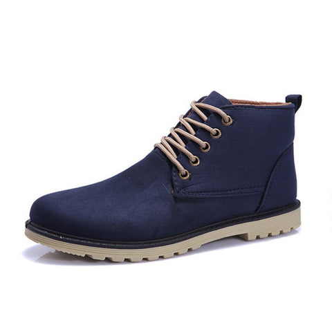 Lace-Up Closure Solid Pattern Ankle Boot For Men - BigrockShoes.com
