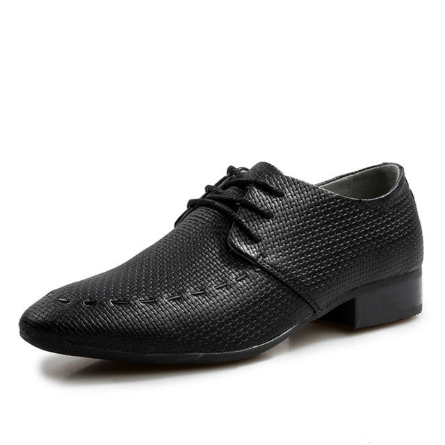 Black Pointed Toe Men Formal Shoe Fabric Insole - BigrockShoes.com