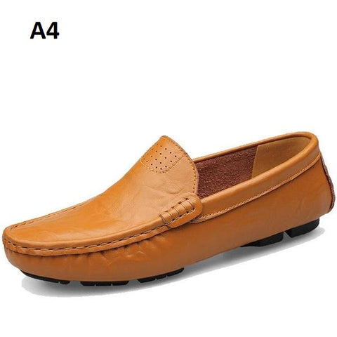 Genuine Leather Lining Rubber Outsole Solid Pattern Loafer Shoe For Men