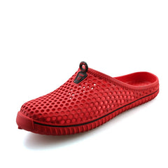 Red Fretwork Men Slippers Flip Flop Slip-On Closure - BigrockShoes.com