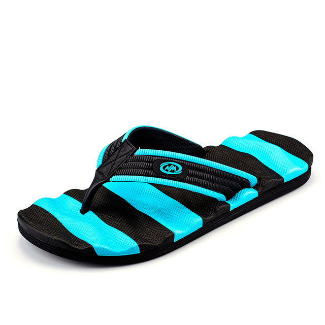 Green Black Men Slippers Flip Flop Mixed Color Rubber Outsole - BigrockShoes.com