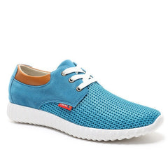 Sky Blue Cotton Lining Fabric Insole Rubber Outsole Casual Shoe For Men