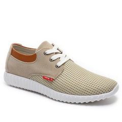 Khaki Cotton Lining Fabric Insole Rubber Outsole Casual Shoe For Men
