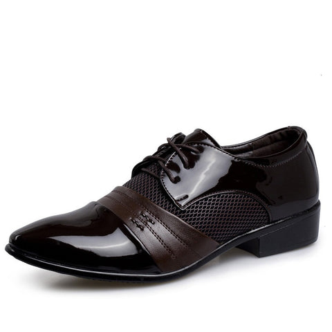 Brown Lace-Up Closure Patent Leather Rubber Outsole Formal Shoe For Men