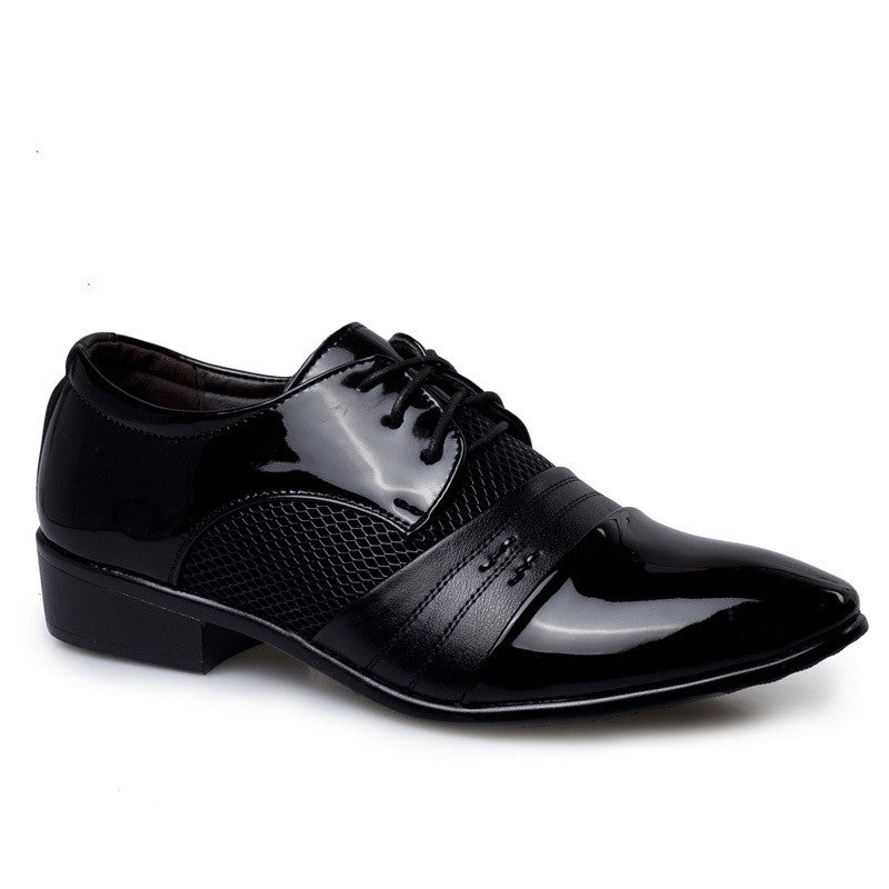 Black Lace-Up Closure Patent Leather Rubber Outsole Formal Shoe For Men