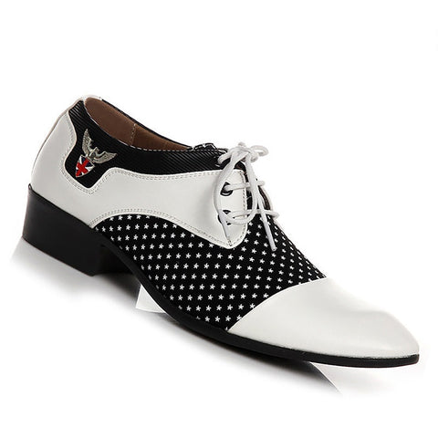 White Mixed Color Pattern Lace-Up Closure PU Insole Formal Shoe For Men