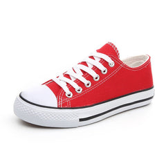 Red Solid Pattern Lace-Up Closure Vulcanized Canvas Shoe For Women