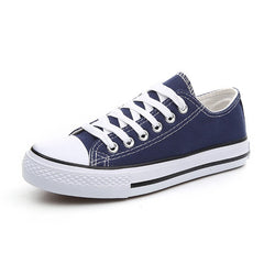 Blue Color Design Solid Pattern Lace-Up Closure Vulcanized Canvas Shoe For Women