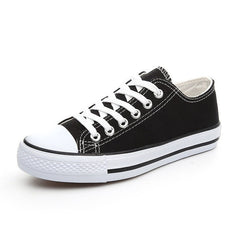 Black Solid Pattern Lace-Up Closure Vulcanized Canvas Shoe For Women