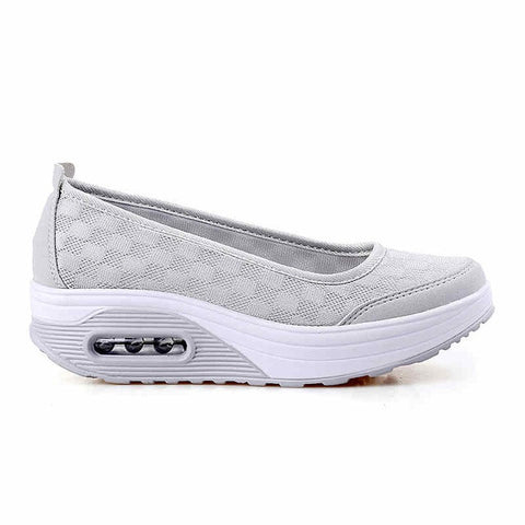 Light Grey Print Pattern Cotton Fabric Lining Slip-On Closure Casual Shoe For Women